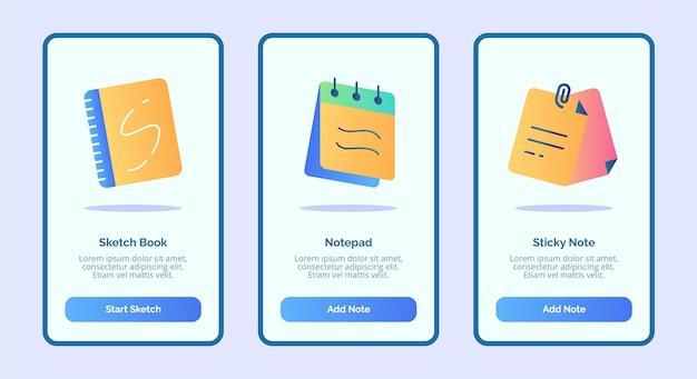 Plantilla de nota adhesiva de bloc de notas de cuaderno de bocetos para aplicaciones móviles