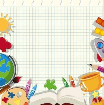 Plantilla de nota con artículos escolares en el papel cuadriculado