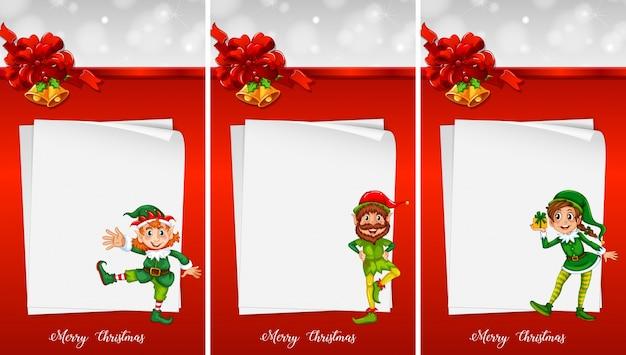 Plantilla de nota de navidad con duende