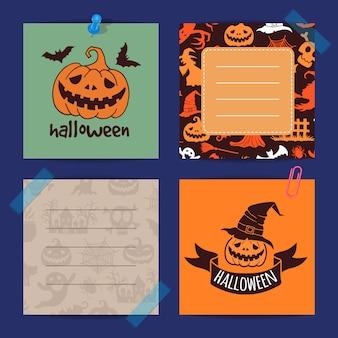 Plantilla de notas de halloween set