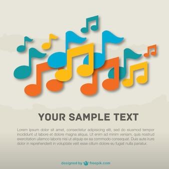 Plantilla con notas musicales de colores