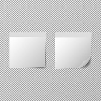 Plantilla de notas de papel sobre fondo transparente