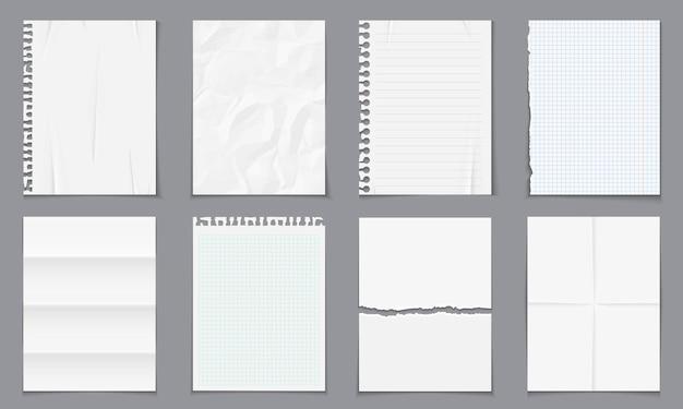 Plantilla de notas de papel vacío realista con sombras aisladas