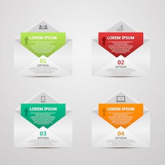 Plantilla de número de infografías de sobres de papel abstracto