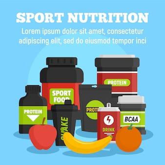 Plantilla de nutrición deportiva, estilo plano.