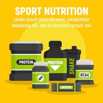 Plantilla de nutrición deportiva del producto, estilo plano.