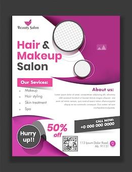 Plantilla o folleto de hair & makeup salon con servicios dados y detalles del lugar para publicidad.