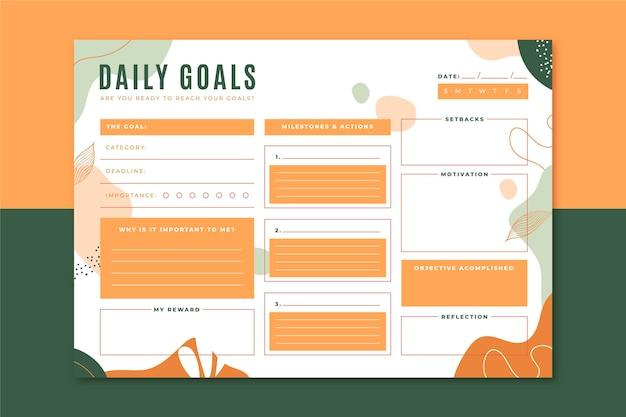 Plantilla de objetivos diarios
