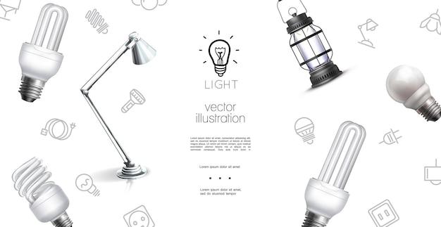 Plantilla de objetos de iluminación realista con bombillas de lámpara de linterna e iconos de equipos de luz