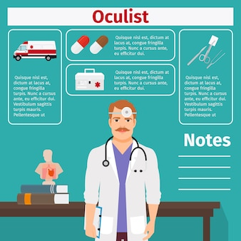 Plantilla de oculista y equipamiento médico.