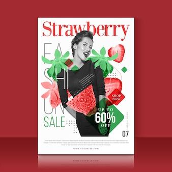 Plantilla con oferta de venta de fresas