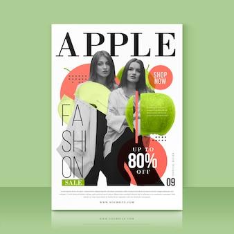 Plantilla con oferta de venta de manzana