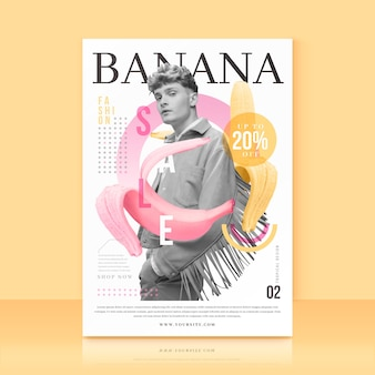 Plantilla con oferta de venta de plátano