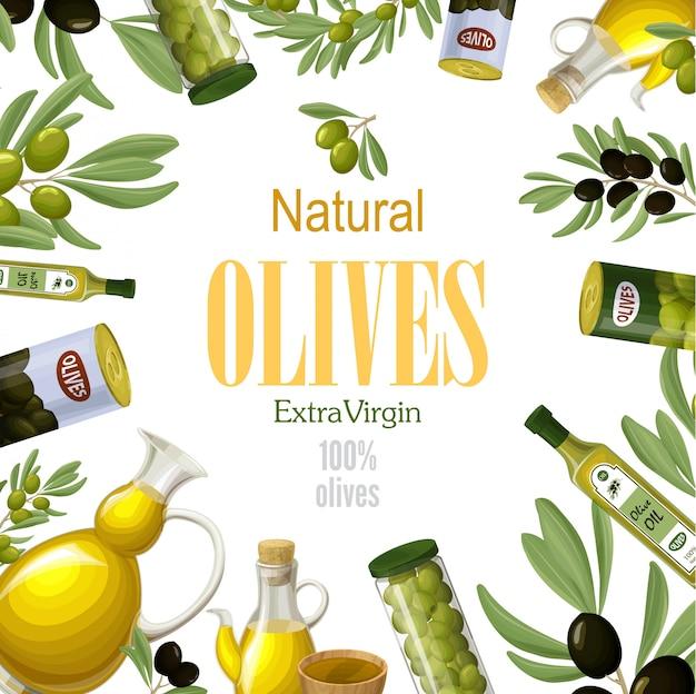 Plantilla de oliva natural premium de dibujos animados con ramas de olivo verde y negro latas tazones ollas frascos y botellas de aceite saludable