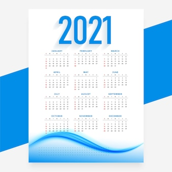 Plantilla ondulada de calendario de año nuevo azul moderno