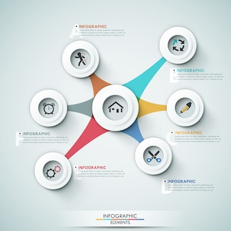 Plantilla de opciones infografía moderna 3d