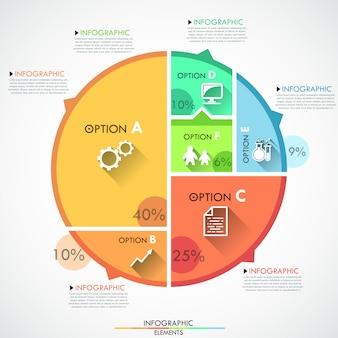 Plantilla de opciones de infografía plana