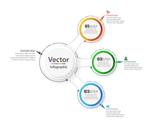 Plantilla de opciones de número de infografía abstracta con 3 pasos