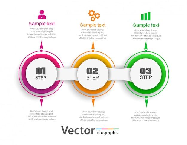 Plantilla de opciones de número de infografía con círculos de colores y 3 pasos