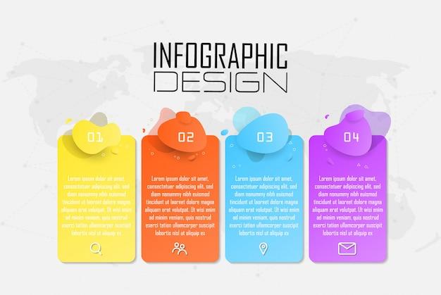 Plantilla de opciones de número de infografía con iconos de marketing para negocios de concepto diferente. se puede usar para presentaciones de banner, diagrama de proceso, diseño de flujo de trabajo, diagrama de flujo