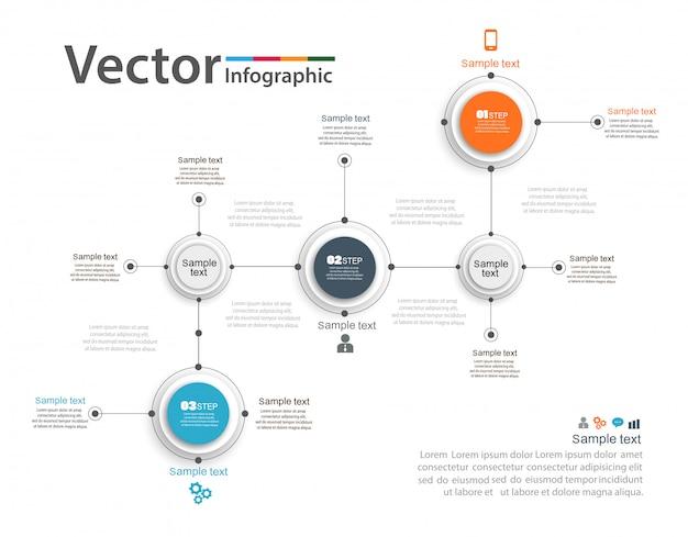 Plantilla de opciones de número de infografías coloridas abstractas con 3 pasos