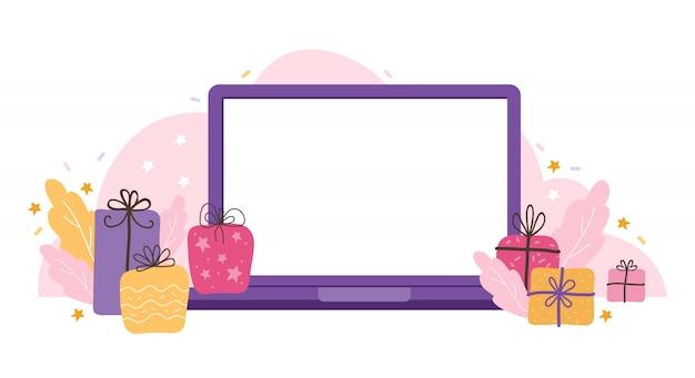Plantilla de ordenador portátil con una pantalla vacía sobre un fondo de vacaciones. dispositivo en blanco simulado con regalos, estrellas y serpentinas. conceptos de ilustración plana para desarrollo de sitios web y sitios web móviles.