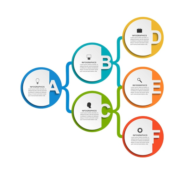 Plantilla de organigrama de diseño infográfico. plantilla de infografía numérica.