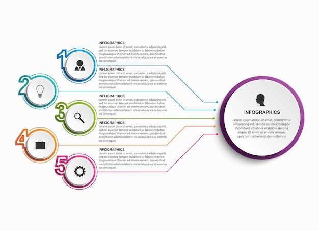 Plantilla de organigrama de diseño infográfico para presentaciones de negocios