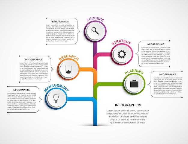 Plantilla de organigrama de diseño infográfico.