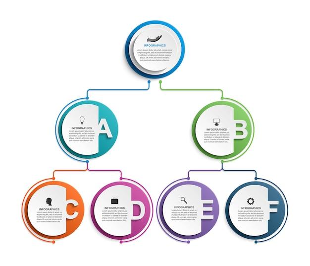 Plantilla de organigrama de diseño infográfico