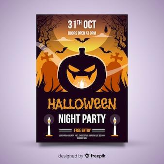 Plantilla original de póster de fiesta de halloween con diseño plano