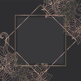 Plantilla de oro de lujo con flores dibujadas a mano zentangle
