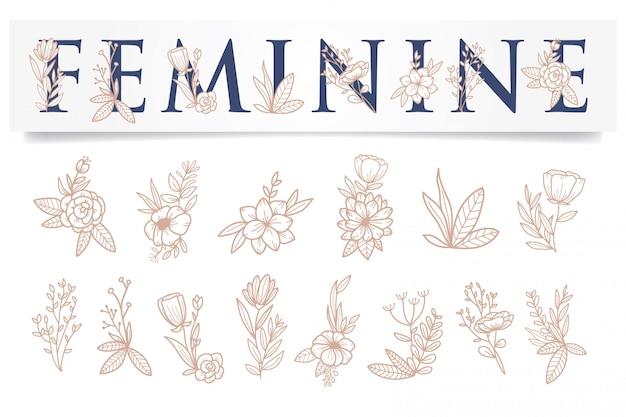 Plantilla de oro rosa de flor femenina