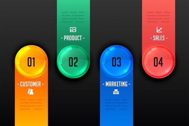 Plantilla oscura de cuatro pasos de presentación infográfica