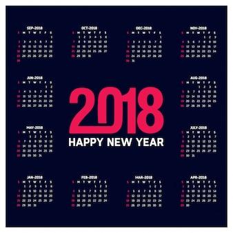 Plantilla oscura de calendario para 2018