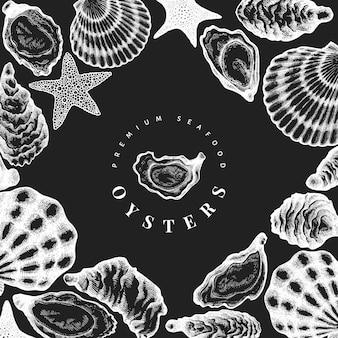 Plantilla de ostras dibujado a mano ilustración en pizarra. mariscos .