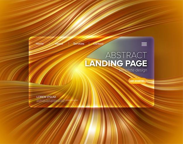Plantilla de página de aterrizaje abstracta raya distorsionada