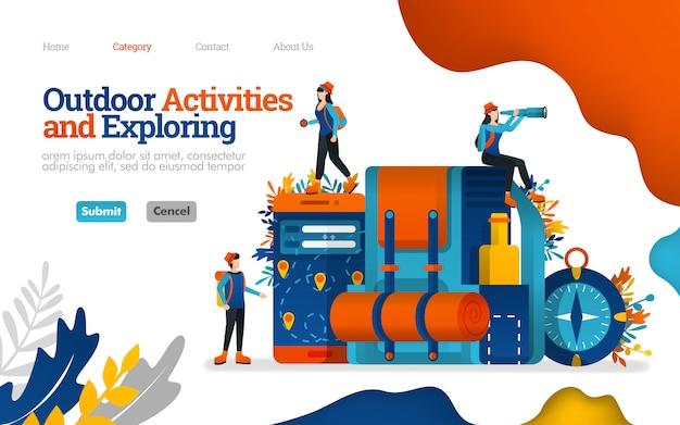 Plantilla de página de aterrizaje. actividades al aire libre y exploración. preparar para acampar, ilustración vectorial