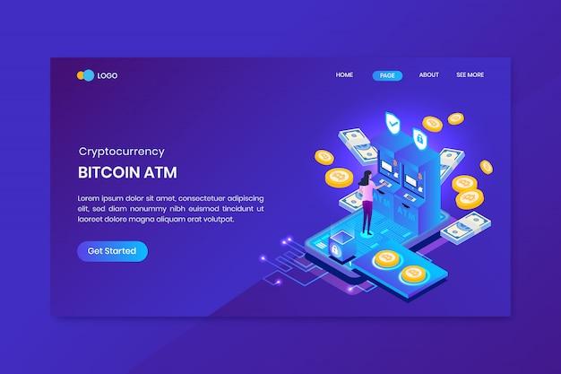 Plantilla de página de aterrizaje de análisis de bitcoin atm