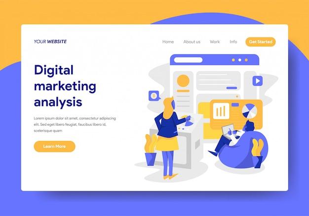 Plantilla de página de aterrizaje de análisis de marketing digital
