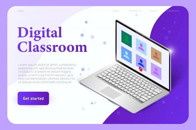 Plantilla de página de aterrizaje de aula digital con laptop realista 3d con perfiles de estudiantes. lección en línea en el programa de llamadas de voz.