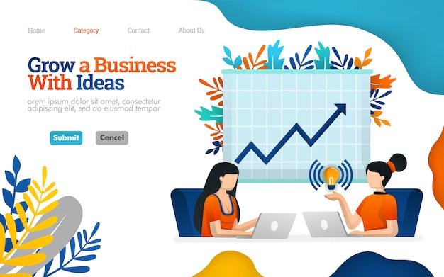 Plantilla de página de aterrizaje. aumente el potencial de negocios con la comunicación laboral, hable para aumentar las ganancias, ilustración vectorial