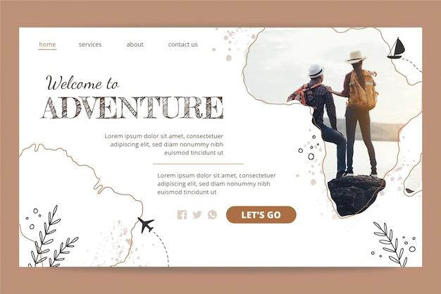 Plantilla de página de aterrizaje de aventura dibujada a mano con foto