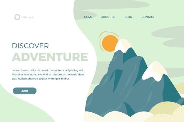 Plantilla de página de aterrizaje de aventura dibujada a mano