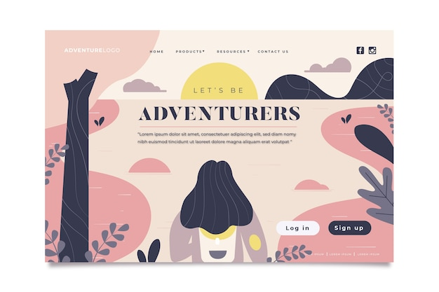 Plantilla de página de aterrizaje de aventura