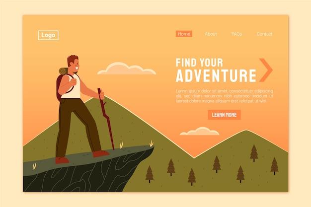 Plantilla de página de aterrizaje de aventuras