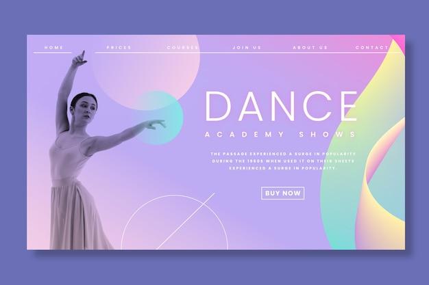 Plantilla de página de aterrizaje de ballet bailando