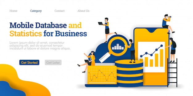 Plantilla de página de aterrizaje. base de datos móvil y statistics for business, que recopila varios datos en una base de datos en la nube
