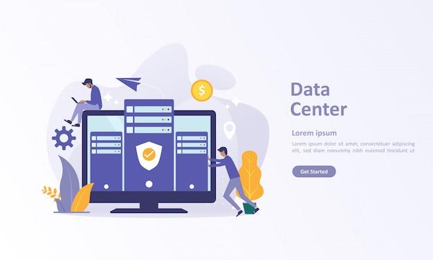 Plantilla de página de aterrizaje de big data con base de datos en la nube.