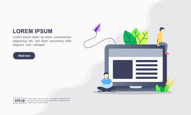 Plantilla de página de aterrizaje. blogging concepto de ilustración con carácter.